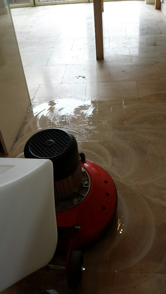 Unmaintained Limestone Kitchen Floor During Cleaning Cardiff