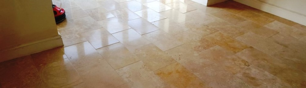 Heavily Worn Polished Limestone Floor Restored in Cowbridge
