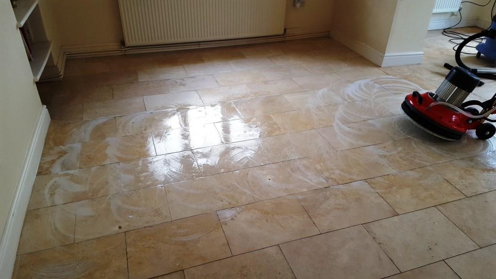Polishing a Limestone Floor is South Wales