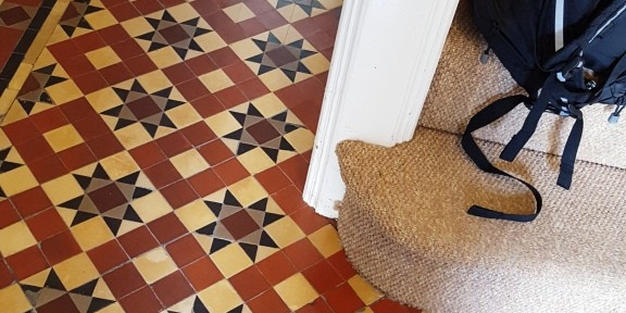 Heavily Soiled and Damaged Victorian Tiled Hallway Restored in Pontcanna
