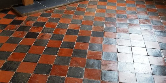 Badly Stained Quarry Tiles Deep Cleaned and Sealed in Splott