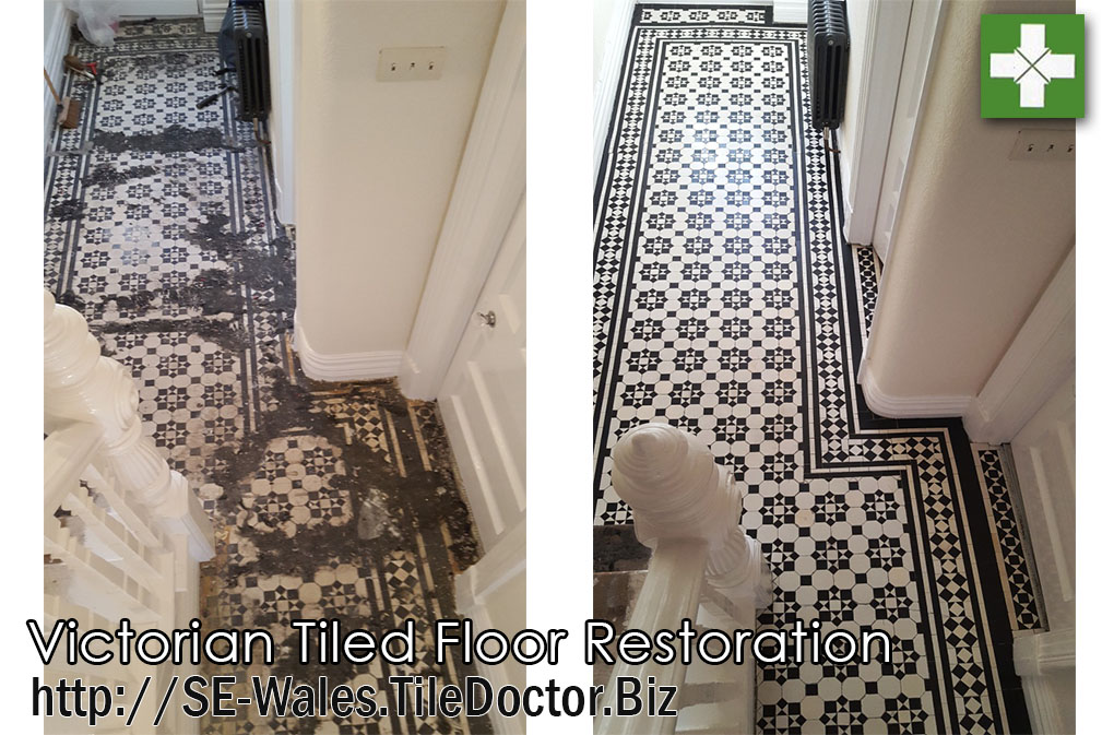 Victorian tiled floor before and after restoration in Maesteg