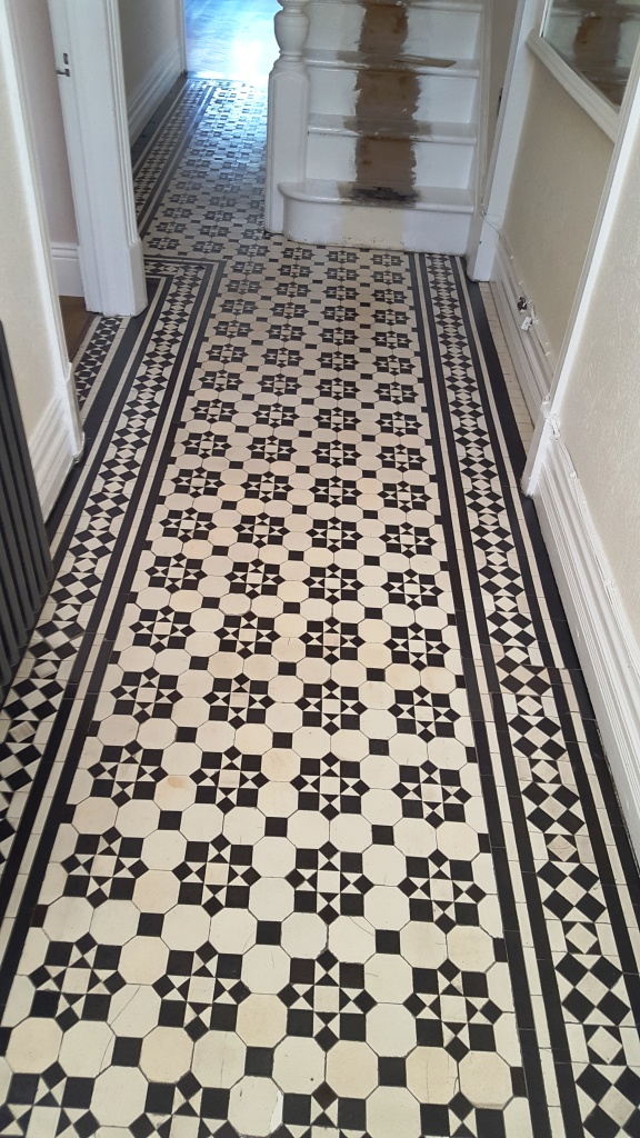 Victorian tiled hallway after cleaning Maesteg