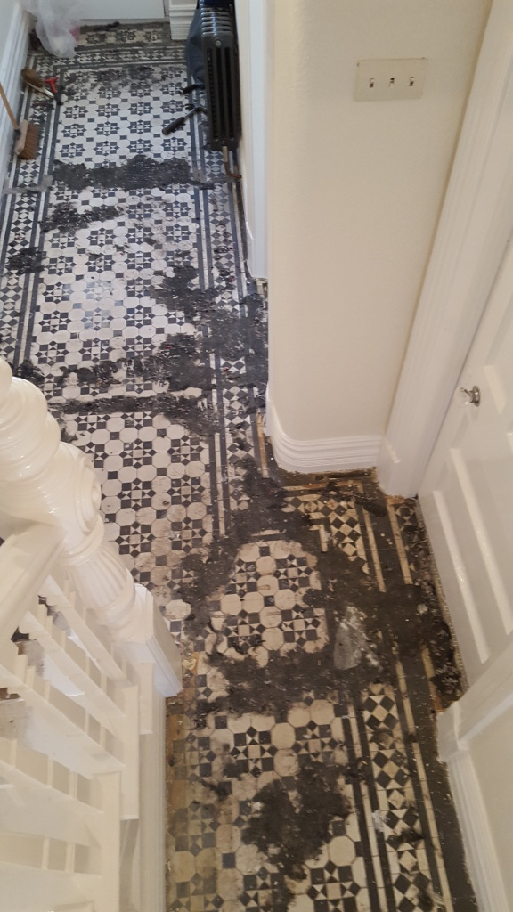 Victorian tiled hallway before cleaning Maesteg