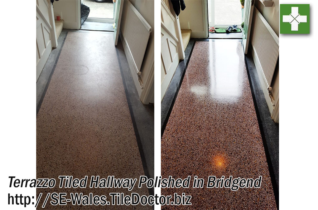 Terrazzo Tiled Hallway Floor Before and After Restoration Bridgend