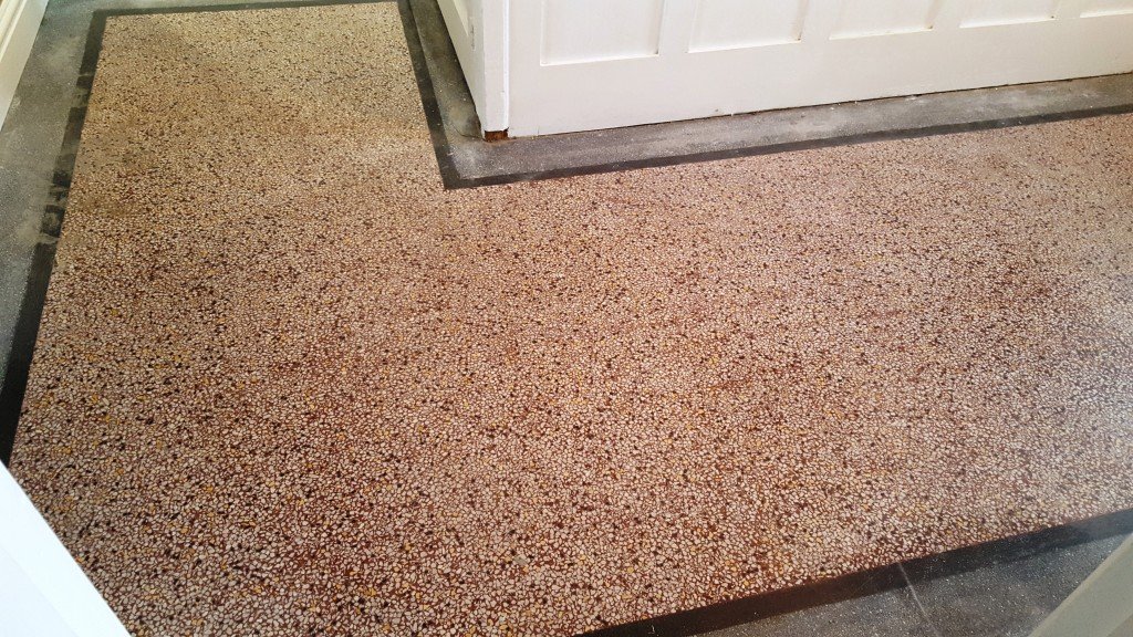 Old terrazzo hallway floor before polishing Bridgend