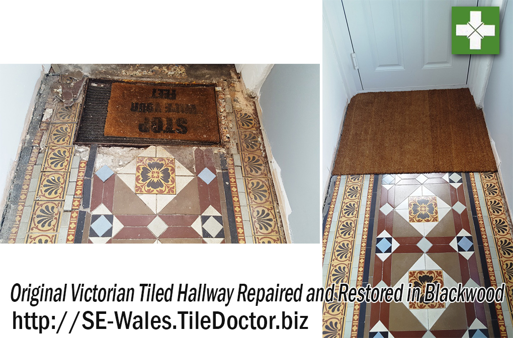 Original Victorian Tiled Hallway Before and after Restoration in Blackwood