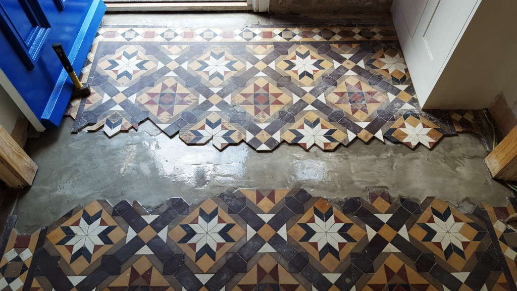 Victorian Hallway Tiles During Base Rebuild with Cement Newport