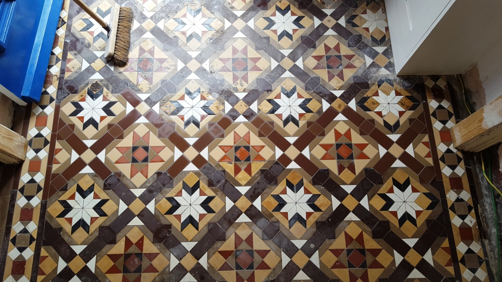 Victorian Hallway Tiles During Replacement in Newport