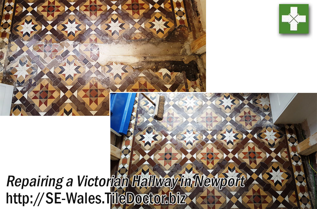 Victorian Tiled Hallway Before and After Repair in Newport