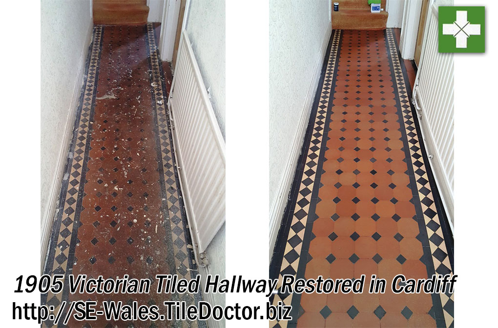 Victorian Tiled Hallway Before and After Restoration in Cardiff