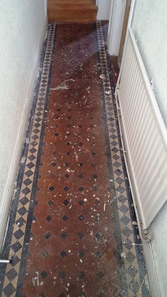 Victorian Tiled Hallway in Cardiff Before Restoration