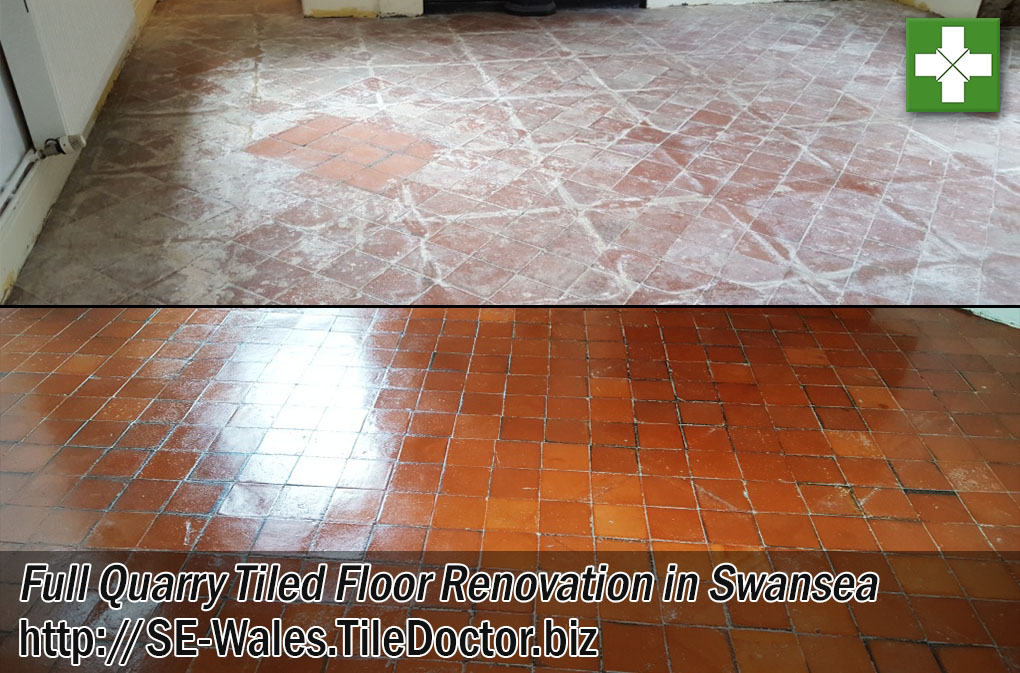 Cement Screed Quarry Tiled Floor Before and After Renovation in Swansea