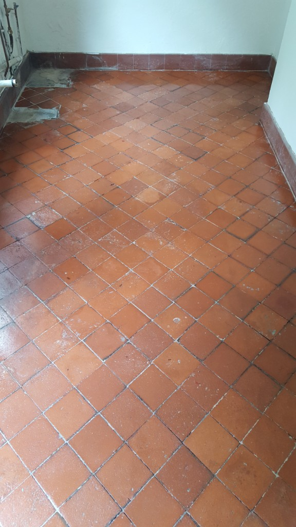 Quarry Tiles in Swansea With Cement Compound Removed
