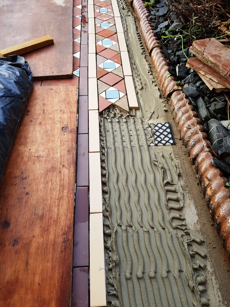 Victorian Tiled Pathway During Rebuild Cardiff