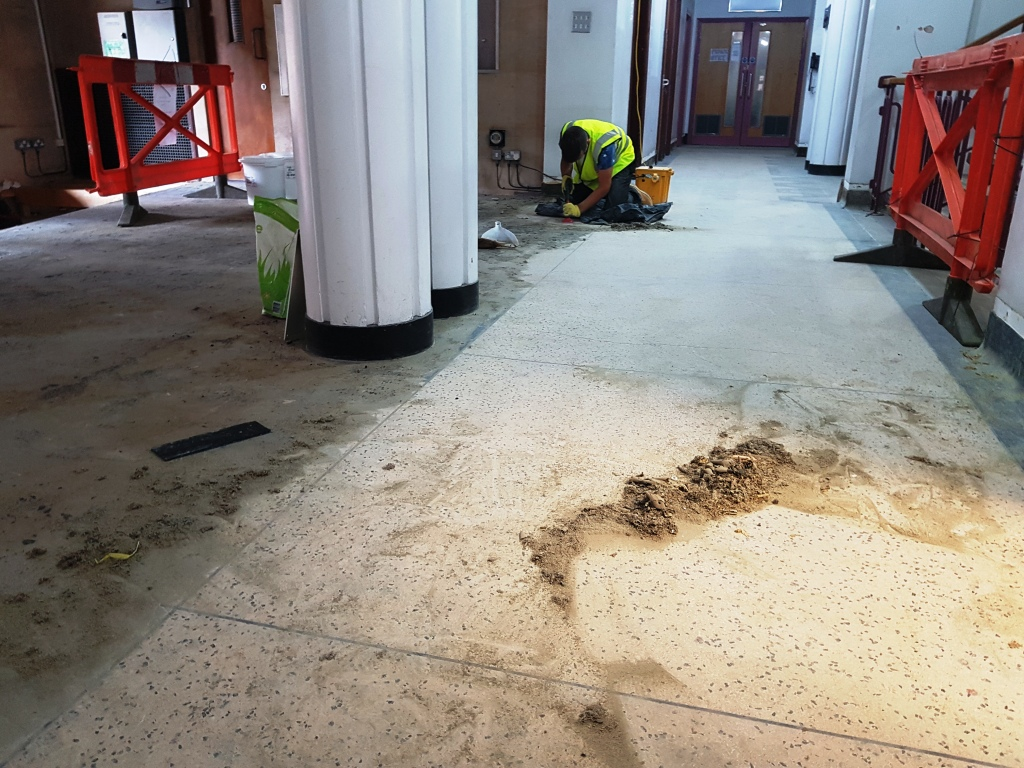 Terrazzo Floor During Restoration Cardiff University