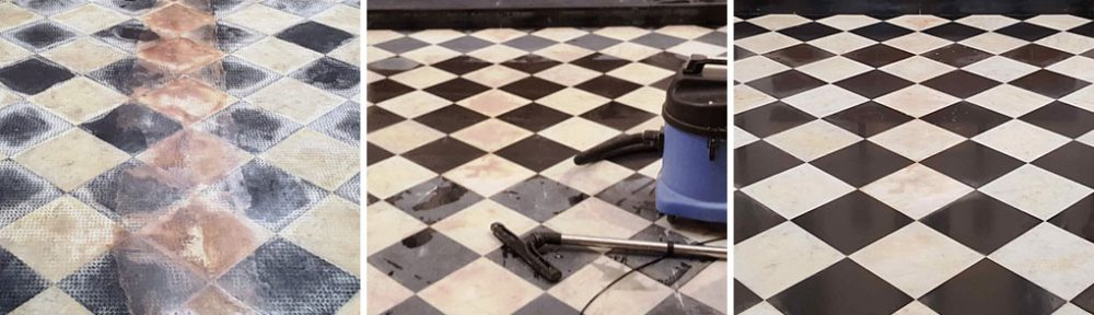 Black and White Marble Church Floor Tiles Renovated in Ely Cardiff