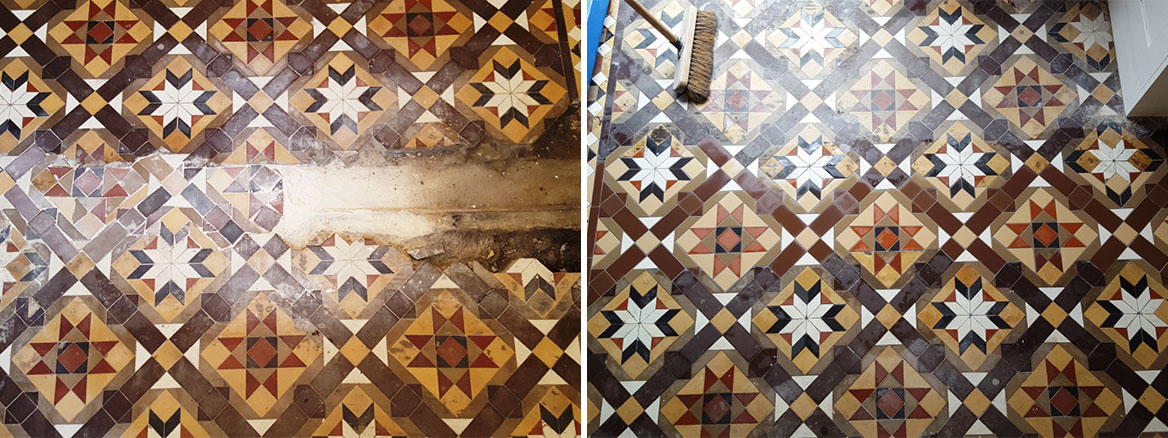 Victorian Hallway Tiles Before and After Repair in Newport