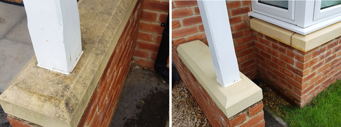 Bathstone Window Cills Before and After Cleaning Cardiff