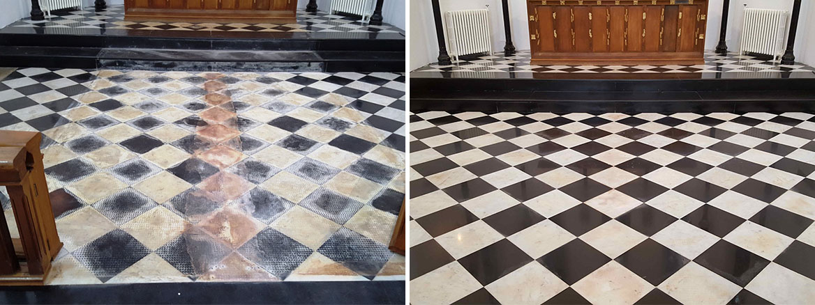 Marble Church Floor Before and After Renovation Ely