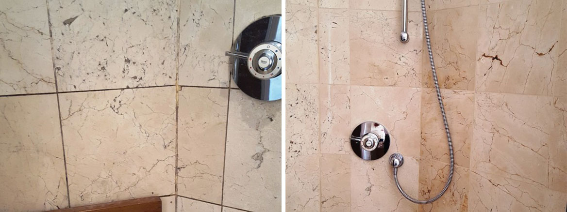 Badly Stained and Mouldy Marble Shower a Cubicle Transformed in Beddau