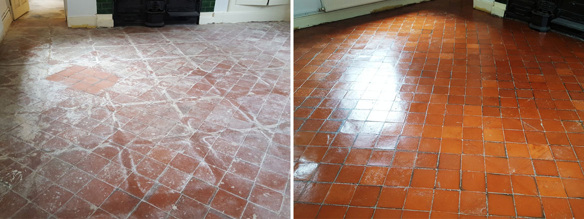 Quarry Tiles in Swansea Before and After Restoration