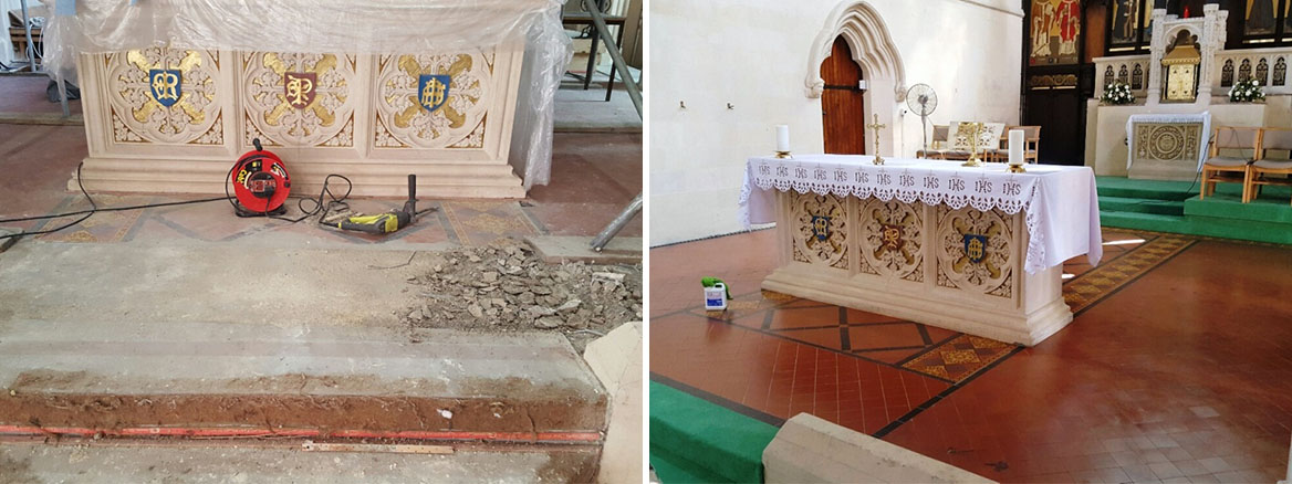 Terrazzo and Quarry Tiles Restored at a Fire Damaged Church in Bath