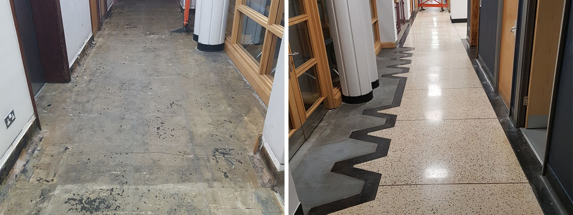 Terrazzo Floor Before and After Restoration Cardiff University