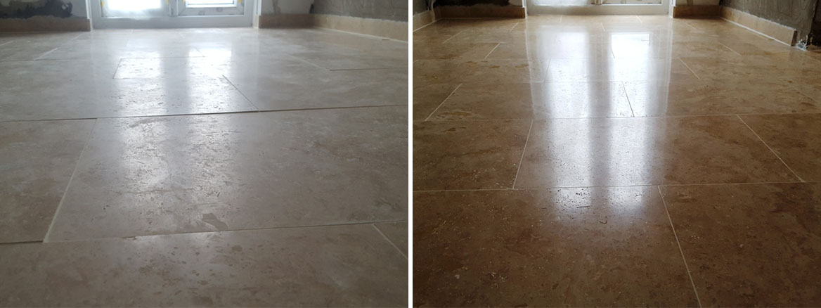 Uneven Travertine Floor Before and After Levelling and Polishing in Swansea