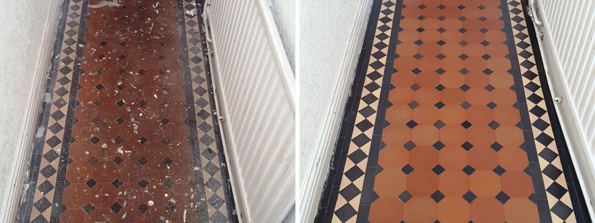 Victorian Tiled Hallway in Cardiff Before and After Restoration