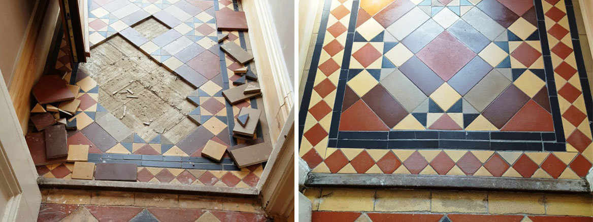 Victorian Tiled Lobby Floor Before and After Restoration Swansea