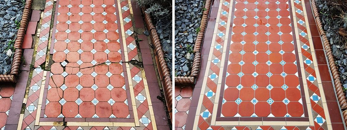 Victorian Tiled Pathway Before and After Rebuild Cardiff