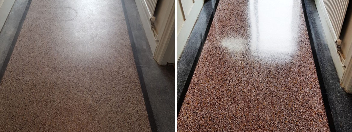 Old terrazzo hallway floor before after polishing Bridgend