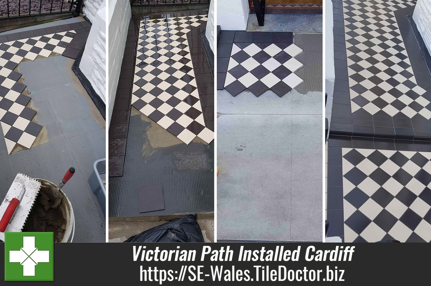 Classic Reproduction Victorian Tiled Path During Installation Cardiff