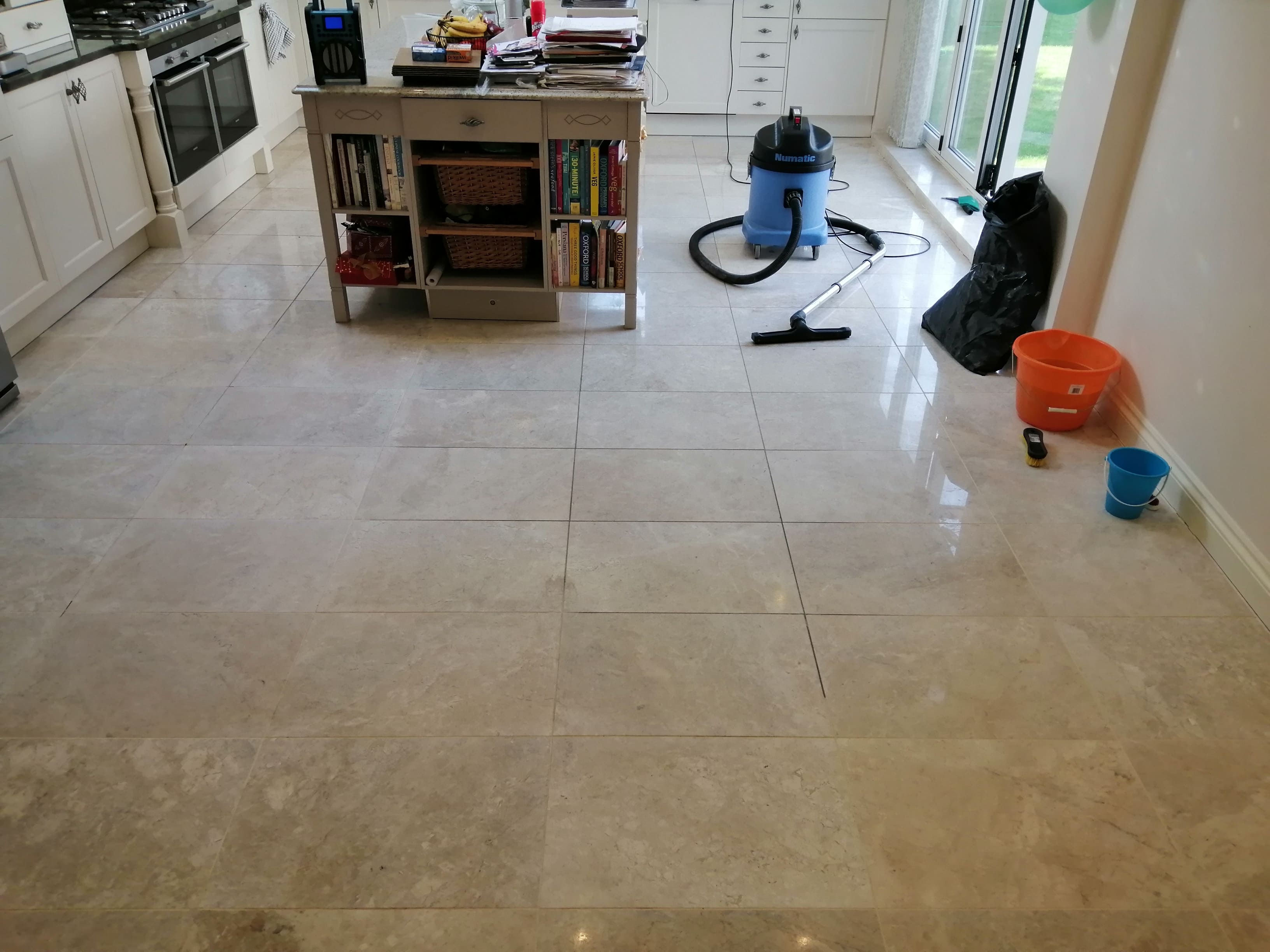 Marble Kitchen Floor During Grout Cleaning Cardiff