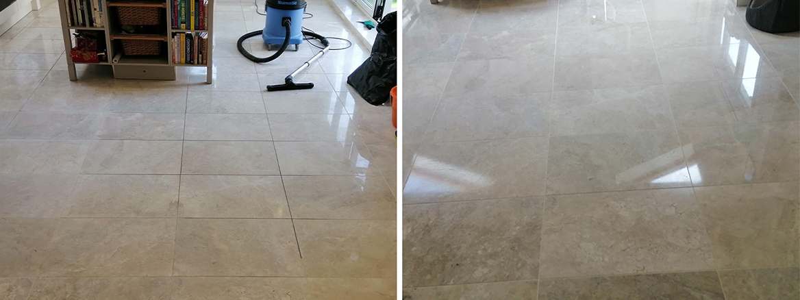 Marble Tiled Floor Cleaned and Polished in Cardiff