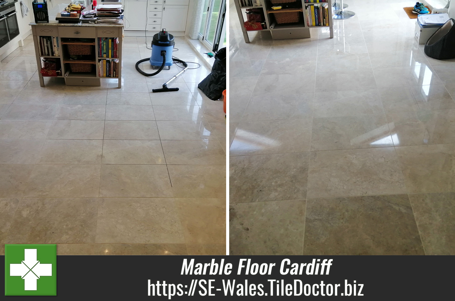 Marble Kitchen Floor Grout Cleaned and Polished in Cardiff