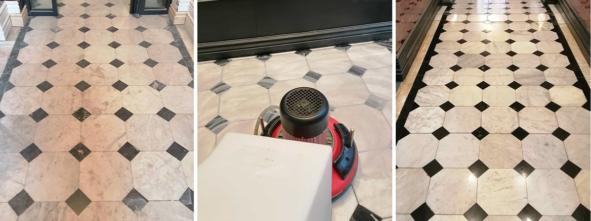Renovating White Marble Tiled Hallway Floor in Cardiff Bay