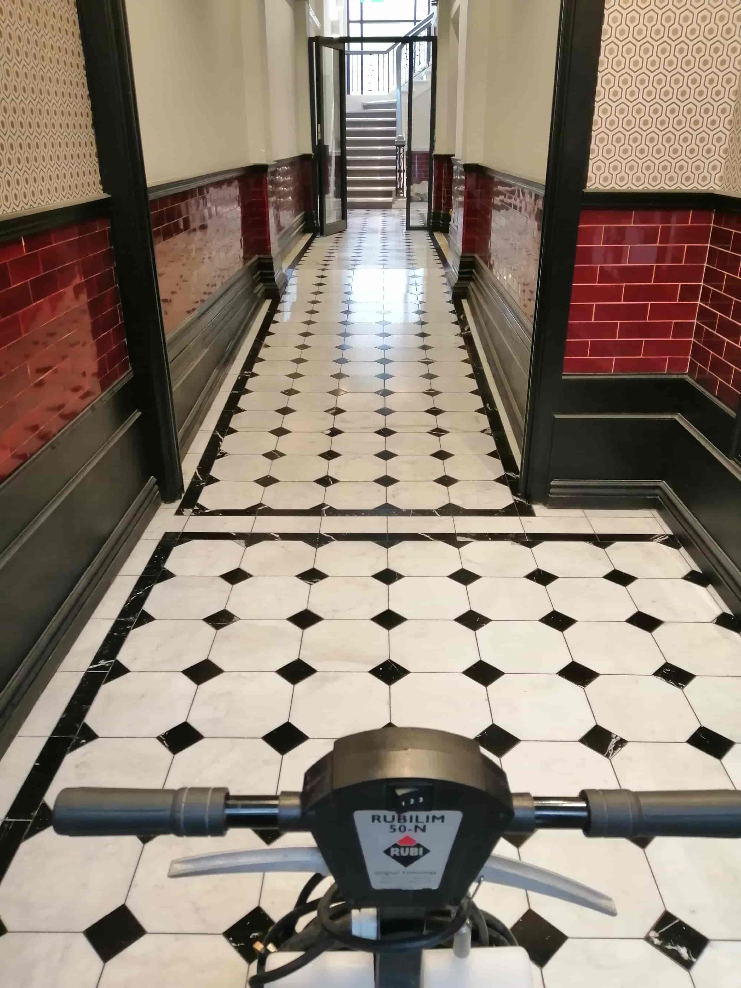 White Mable Hallway After Polishing Cardiff Bay Listed Building
