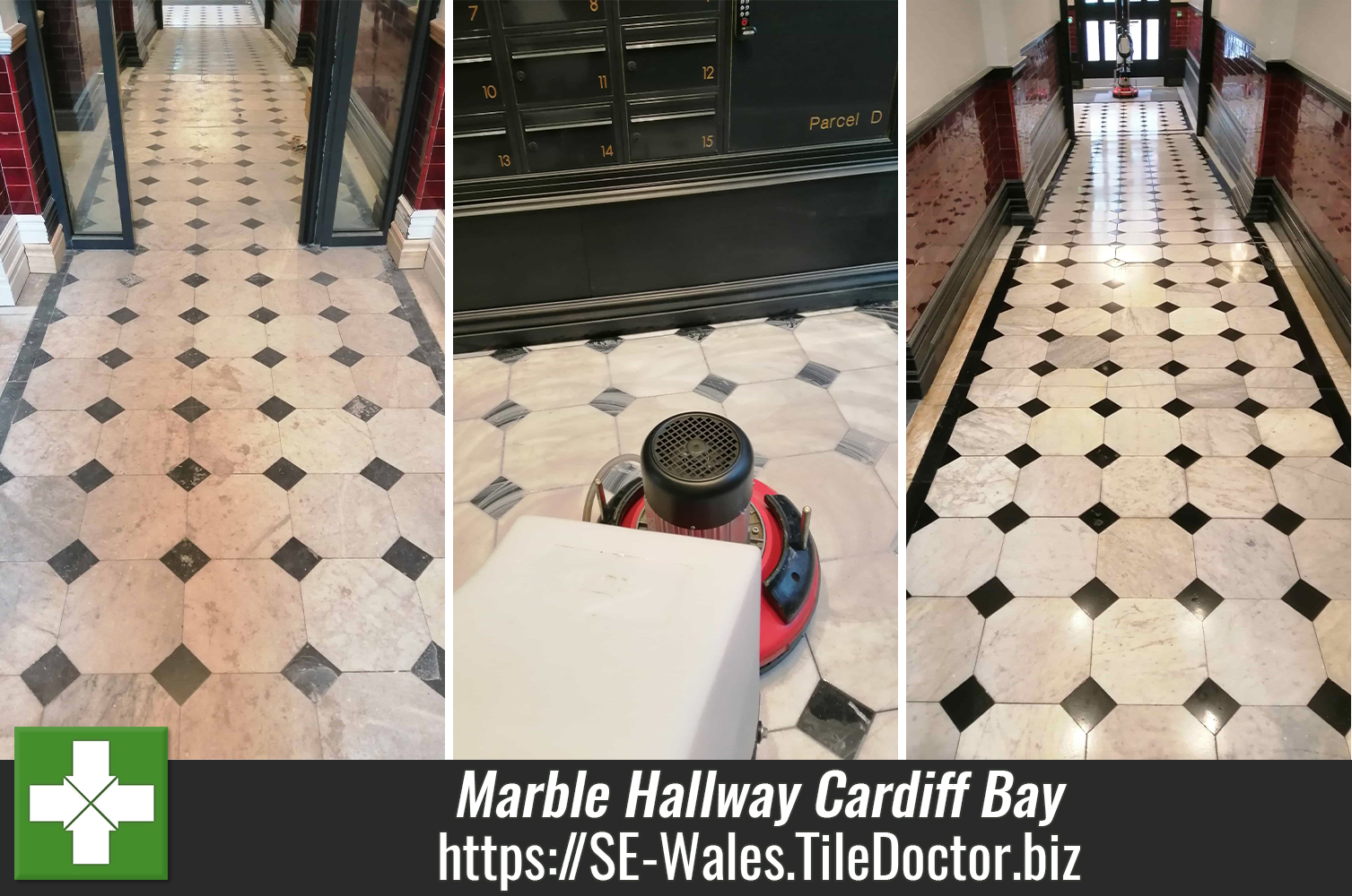 White Marble Floor Before After Renovation Cardiff Bay